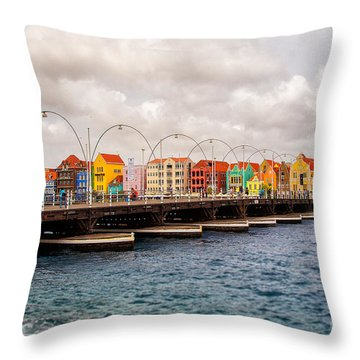 Colors Of Willemstad Curacao And The Foot Bridge To The City Throw Pillow