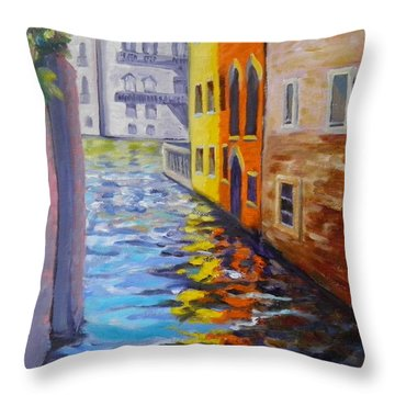 Colors On The Canal Throw Pillow