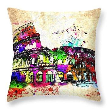 Colosseo Grunge  Throw Pillow