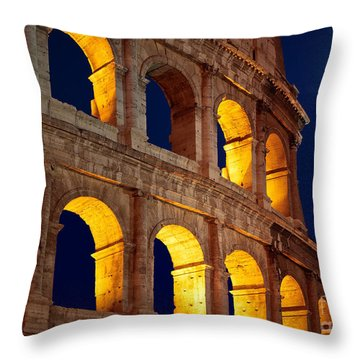 Colosseum And Moon Throw Pillow by Inge Johnsson