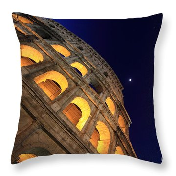 Colosseum At Night Throw Pillow by Stefano Senise
