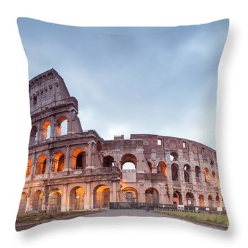 Colosseum At Sunrise Rome Italy Throw Pillow