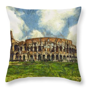 Colosseum Pencil Throw Pillow by Sophie McAulay