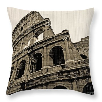 Colosseum Rome - Old Photo Effect Throw Pillow by Cheryl Del Toro