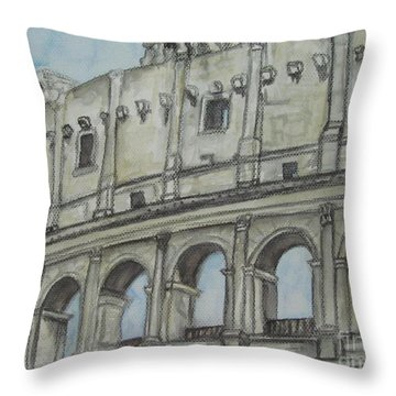 Colosseum Rome Italy Throw Pillow by Malinda  Prudhomme