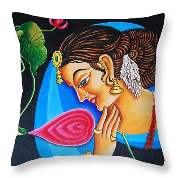 Throw Pillow featuring the painting Colour And Creativity by Ragunath Venkatraman