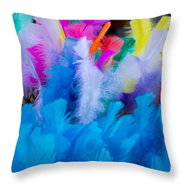 Coloured Easter Feathers Throw Pillow