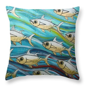Coloured Water Fish Throw Pillow