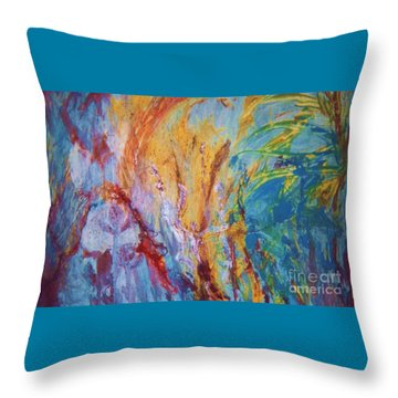 Colourful Abstract Throw Pillow by Ann Fellows