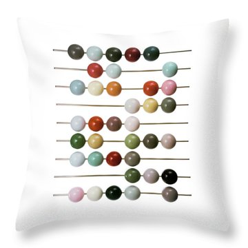 Colourful Beads On Metal Rods Throw Pillow