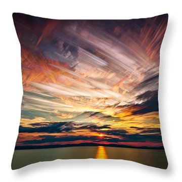 Colourful Cloud Collision Throw Pillow