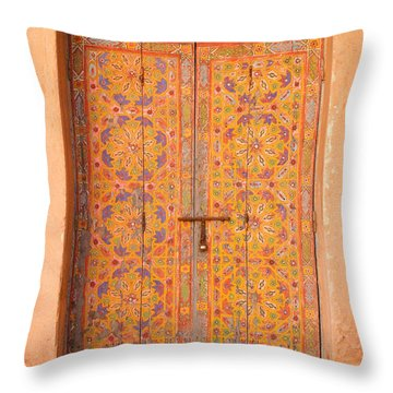 Colourful Entrance Door Sale Rabat Morocco Throw Pillow by Ralph A  Ledergerber-Photography