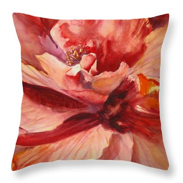 Colourful Hibiscus Throw Pillow by Mohamed Hirji