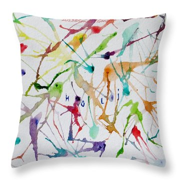Colourful Holi Throw Pillow