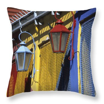 Colourful Lamps La Boca Buenos Aires Throw Pillow by James Brunker