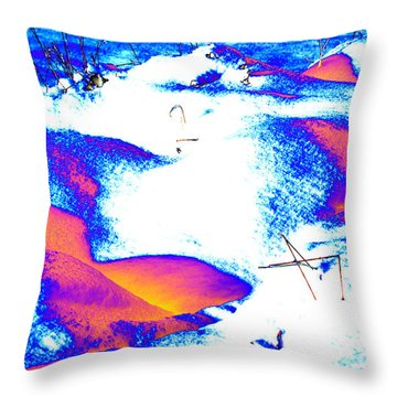 Colourful Snow Throw Pillow by Carol Lynch