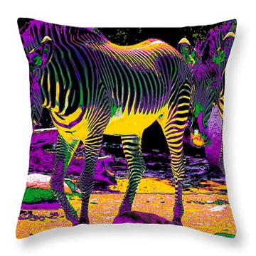 Colourful Zebras  Throw Pillow