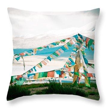 Colourfull Praying Buddhist Flags Lungta  Throw Pillow by Raimond Klavins