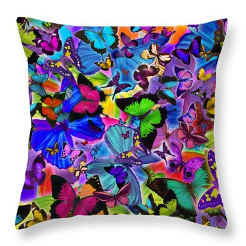 Colours Of Butterflies Throw Pillow by Alixandra Mullins