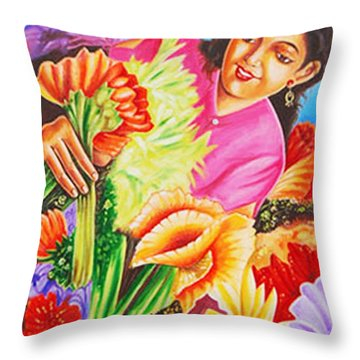 Throw Pillow featuring the painting Colours Of Love - Hues Of Life by Ragunath Venkatraman