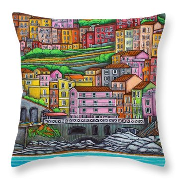 Colours Of Manarola Throw Pillow by Lisa  Lorenz