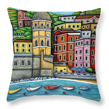 Colours Of Vernazza Throw Pillow by Lisa  Lorenz