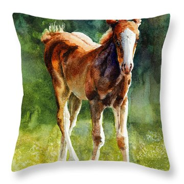 Colt In Green Pastures Throw Pillow