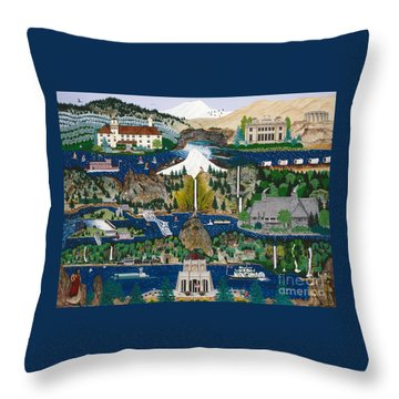 Columbia River Gorge Throw Pillow by Jennifer Lake