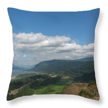 Columbia River Gorge Throw Pillow by Marlene Rose Besso
