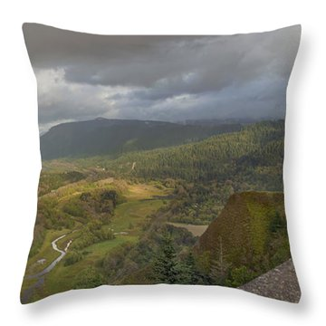 Throw Pillow featuring the photograph Columbia River Gorge View From Crown Point by JPLDesigns