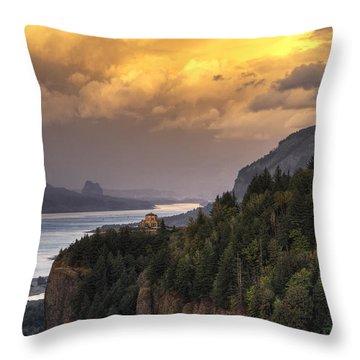 Columbia River Gorge Vista Throw Pillow