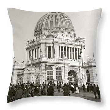 Throw Pillow featuring the photograph Columbian Exposition Chocolat 1893 by Martin Konopacki Restoration