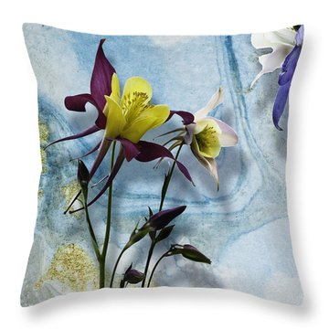 Columbine Blossom With Suminagashi Ink Throw Pillow