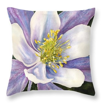 Columbine Closeup Throw Pillow by Anne Gifford