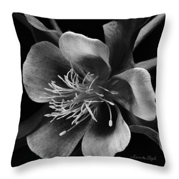 Columbine In Black And White Throw Pillow by Karen Slagle