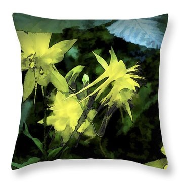 Columbines Painterly Throw Pillow