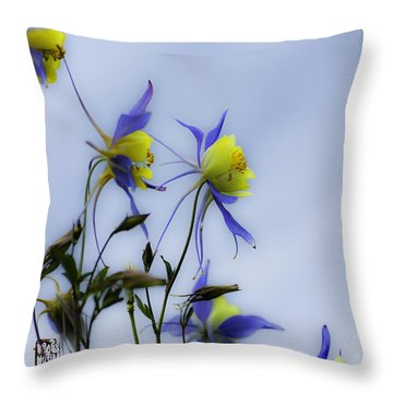 Throw Pillow featuring the photograph Columbines by Peter v Quenter