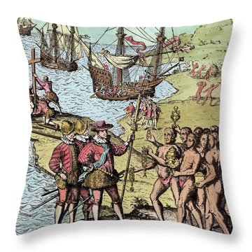 Columbus At Hispaniola, From The Narrative And Critical History Of America, Edited By Justin Throw Pillow