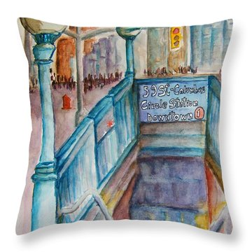 Columbus Circle Subway Stop Throw Pillow