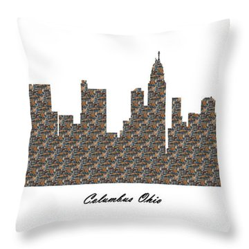 Columbus Ohio 3d Stone Wall Skyline Throw Pillow