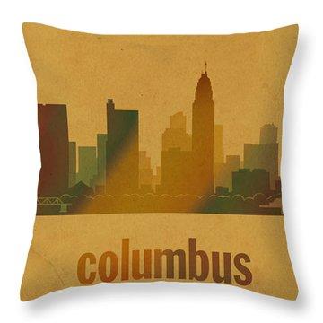 Columbus Ohio City Skyline Watercolor On Parchment Throw Pillow