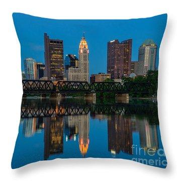 Columbus Ohio Night Skyline Photo Throw Pillow