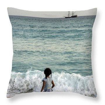 Columbus Ship Throw Pillow
