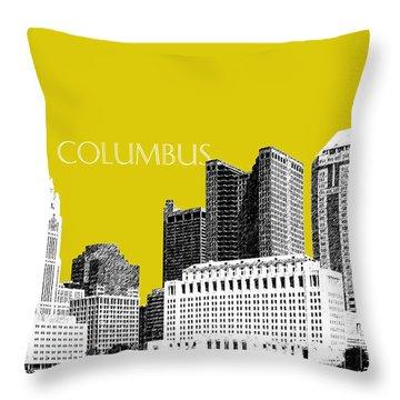 Columbus Skyline - Mustard Throw Pillow