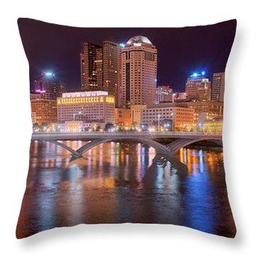 Columbus Skyline At Night Color Panorama Ohio Throw Pillow by Jon Holiday