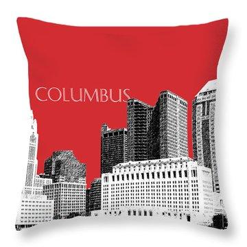 Columbus Skyline - Red Throw Pillow
