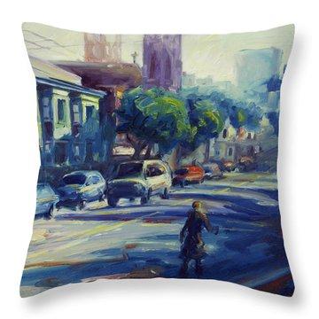 Columbus Street Throw Pillow by Rick Nederlof