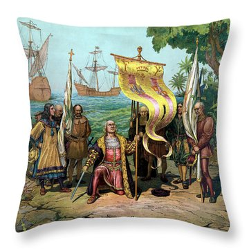 Columbus Taking Possession Of The New Country Throw Pillow