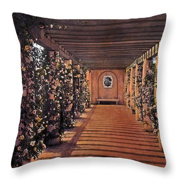 Columns And Flowers 2 Throw Pillow by Terry Reynoldson