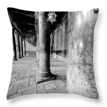 Columns At The Church Of Nativity Black And White Vertical Throw Pillow by David Morefield